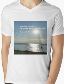His word lights the path of life Mens V-Neck T-Shirt