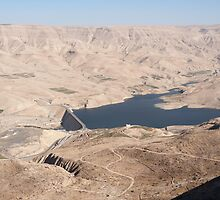 Looking down on the dam across Wadi Mujib by Mark Prior