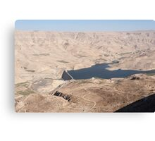 Looking down on the dam across Wadi Mujib Canvas Print