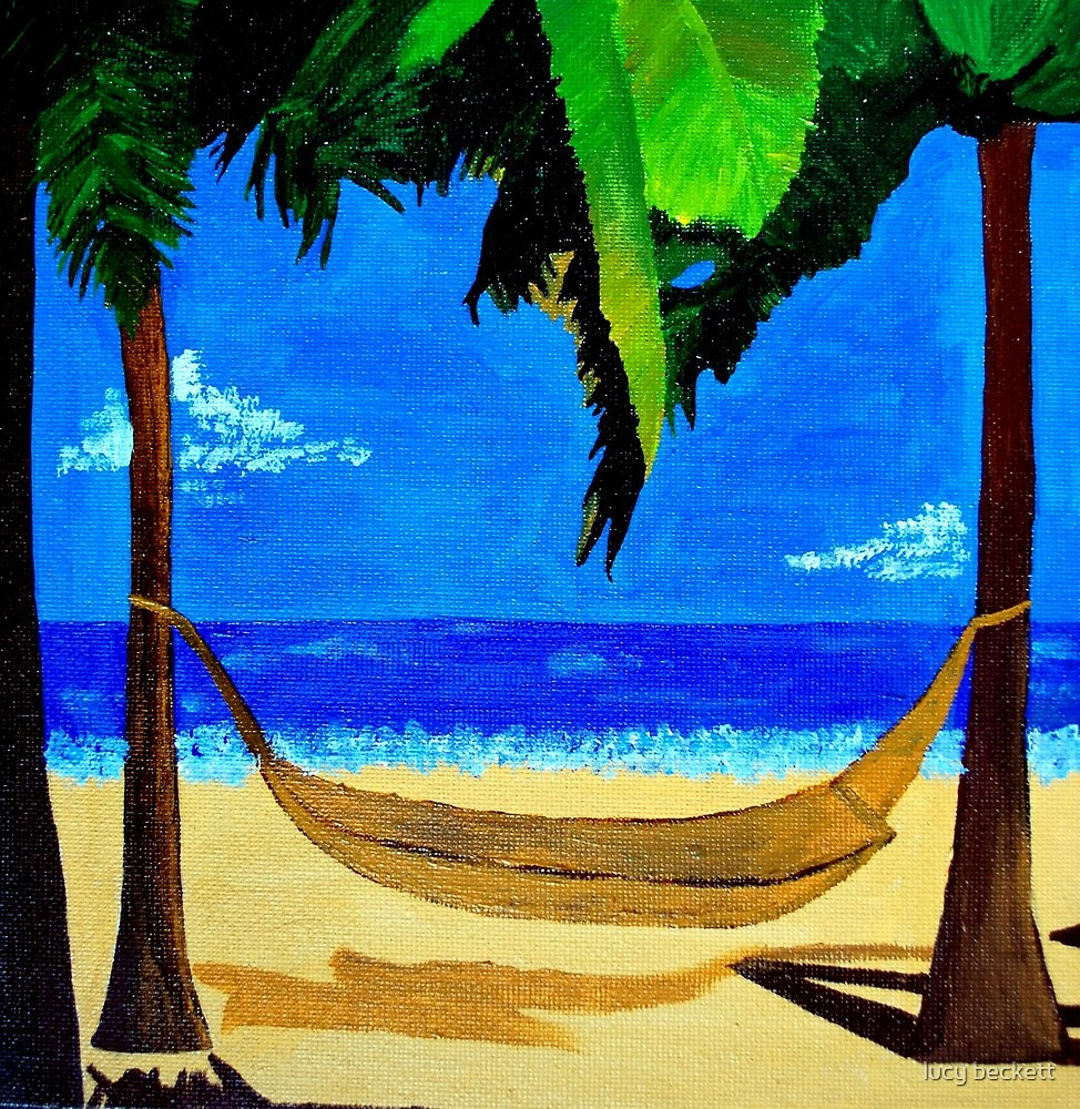 tropical hammock on the beach by lucy beckett