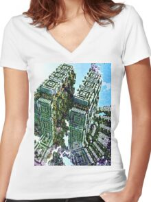 Divine Division - Abstract Fractal Women's Fitted V-Neck T-Shirt