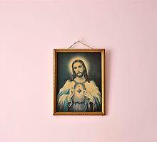 Jesus on a Pink Wall by David Crausby