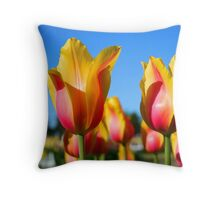 Yellow and pink colored tulips Throw Pillow