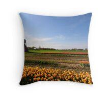 Windmill and dutch tulip gardens Throw Pillow