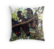 Black Cockatoo Family Throw Pillow