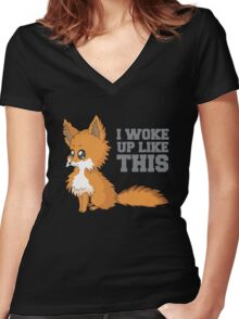 Fox Woke Up Like This Women's Fitted V-Neck T-Shirt