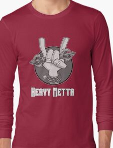 Heavy Metta - Dharma Metal horns (B/W) Long Sleeve T-Shirt