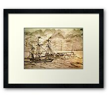 19th century Sailing Ship off Castle Cornet in Guernsey Framed Print