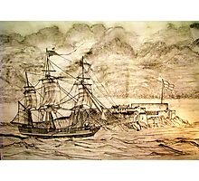 19th century Sailing Ship off Castle Cornet in Guernsey Photographic Print