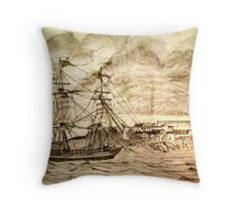 19th century Sailing Ship off Castle Cornet in Guernsey Throw Pillow