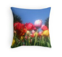 Colorful Tulips  Throw Pillow