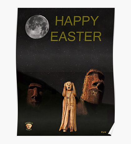 Easter Island The Scream World Tour Happy Easter Poster