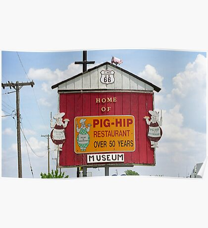 Route 66 - Pig-Hip Restaurant Poster