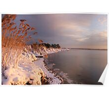 Snow-covered Dawn Along the Shore Poster