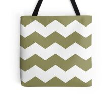 Khaki / Olive Green Chevron Print Tote Bag