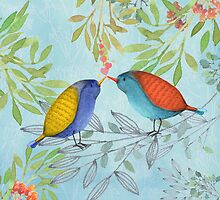 Morning Kiss, Birds in love, kissing in a tree by Glimmersmith