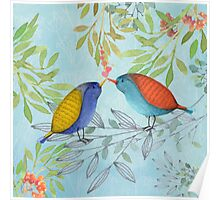 Morning Kiss, Birds in love, kissing in a tree Poster