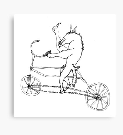 horse with hands riding a bike Canvas Print