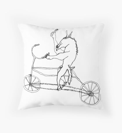 horse with hands riding a bike Throw Pillow