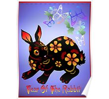 Year Of The Rabbit In Black  Poster
