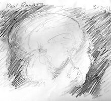 female head on bus -(150211)- graphite pencil sketch/paper by paulramnora