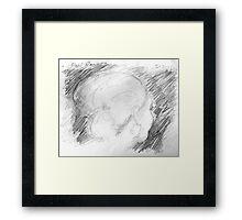 female head on bus -(150211)- graphite pencil sketch/paper Framed Print