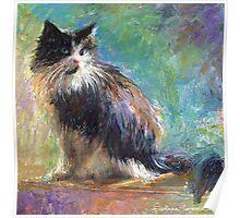 Impressionistic Tuxedo Cat painting Svetlana Novikova Poster