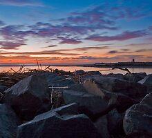 Huntington Beach distant smoke stacks by Doug Dailey