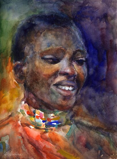 Ethnic woman watercolor portrait Svetlana Novikova by Svetlana  Novikova