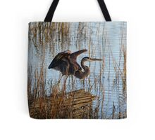 Great Blue Heron Blending In Tote Bag