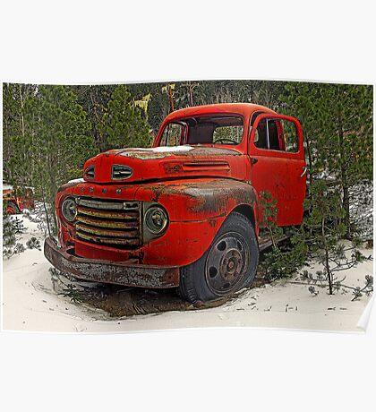 Vintage Red Truck (Ward, Colorado) Poster