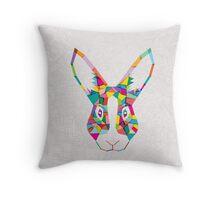 Rainbow Rabbit Throw Pillow