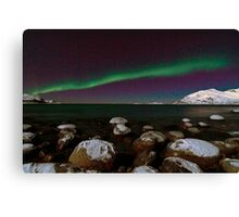 Aurora Borealis at the arctic shore II Canvas Print