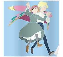 Howl and Sophie Walking on Air Poster