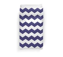 Navy Blue and White Chevron Print Duvet Cover