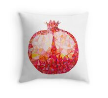 Low Poly Watercolor Pomegranate Throw Pillow
