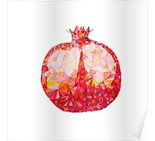 Low Poly Watercolor Pomegranate Poster
