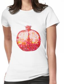 Low Poly Watercolor Pomegranate Womens Fitted T-Shirt