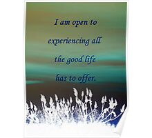I am open to experiencing all the good life has to offer! featured in GEMS Poster