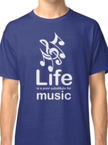 Music v Life - White Graphic Classic T-Shirt