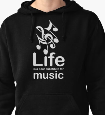 Music v Life - White Graphic Pullover Hoodie