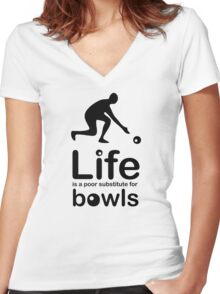 Bowls v Life - Black Graphic Women's Fitted V-Neck T-Shirt