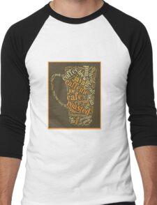 Coffee Lovers Word Cloud Men's Baseball ¾ T-Shirt
