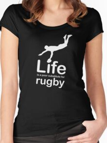 Rugby v Life - White Graphic Women's Fitted Scoop T-Shirt