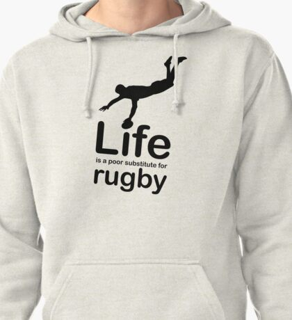 Rugby v Life - Black Graphic Pullover Hoodie