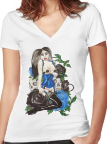 whip it Women's Fitted V-Neck T-Shirt