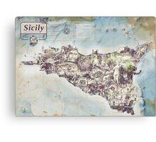 Sicily - Jean Passepartout Maps Canvas Print