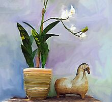 Chinese Horse with White Orchids by suzannem73