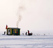 Ice Fishing With Cabin by marchello