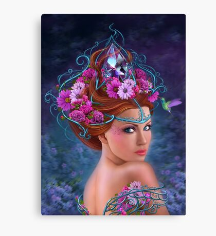 Fantasy Woman and red flowers , fashion portrait Canvas Print
